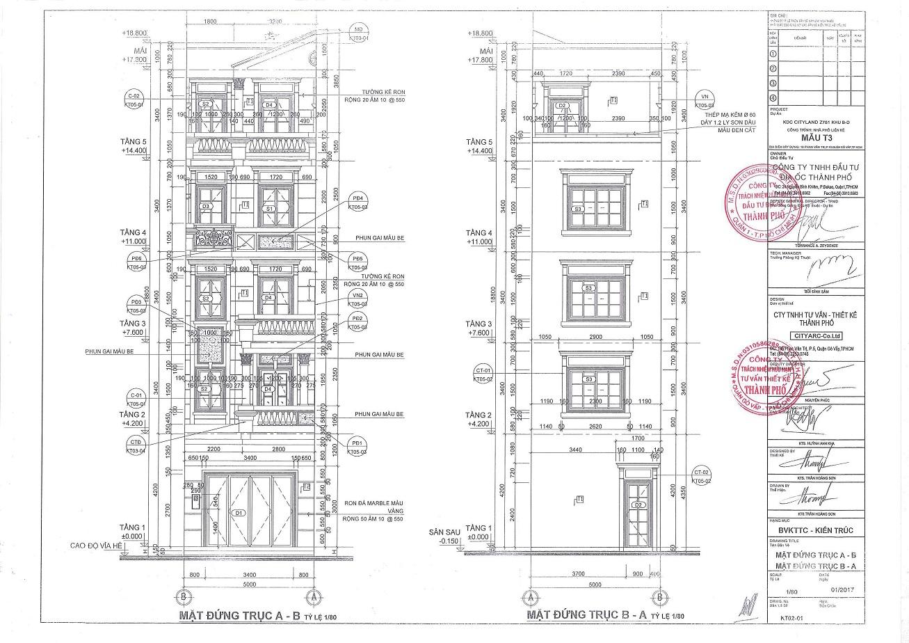 Nhà phố dự án Cityland Park Hills mẫu T3 mặt đứng