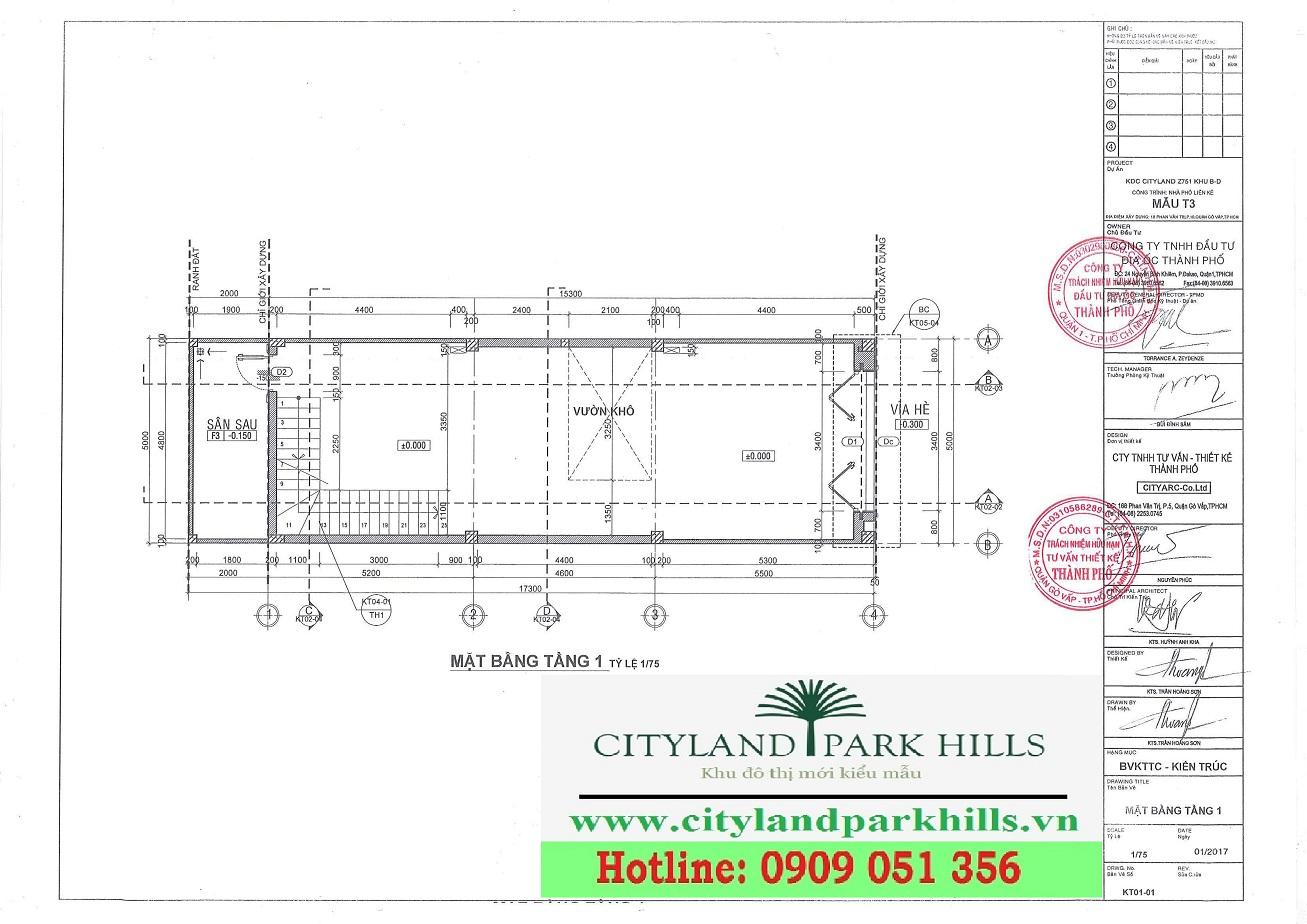 Nhà phố dự án Cityland Park Hills mẫu T3 tầng 1