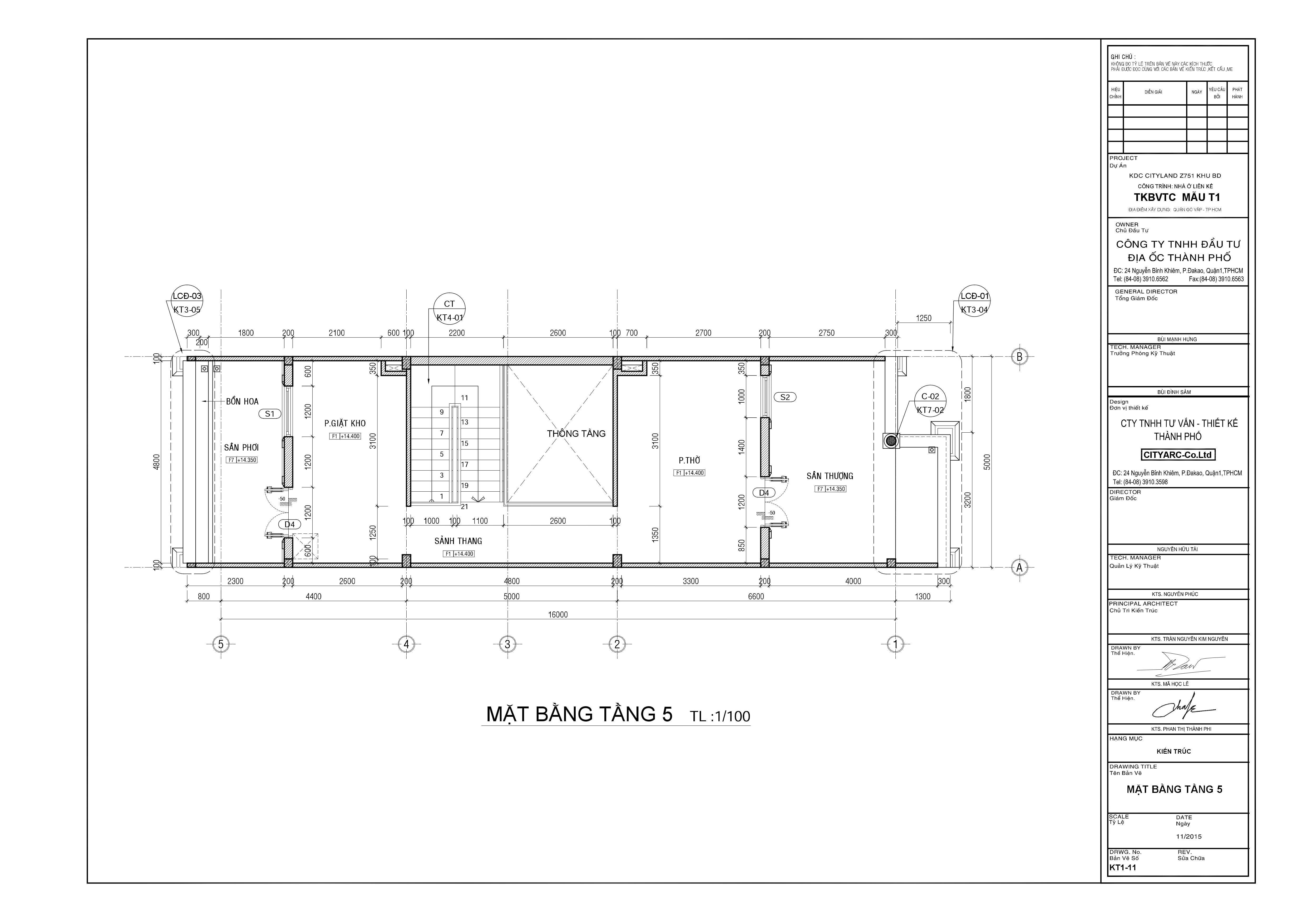 Nhà phố mặt tiền kinh doanh Cityland Park Hills Mẫu T1 - Tầng 5