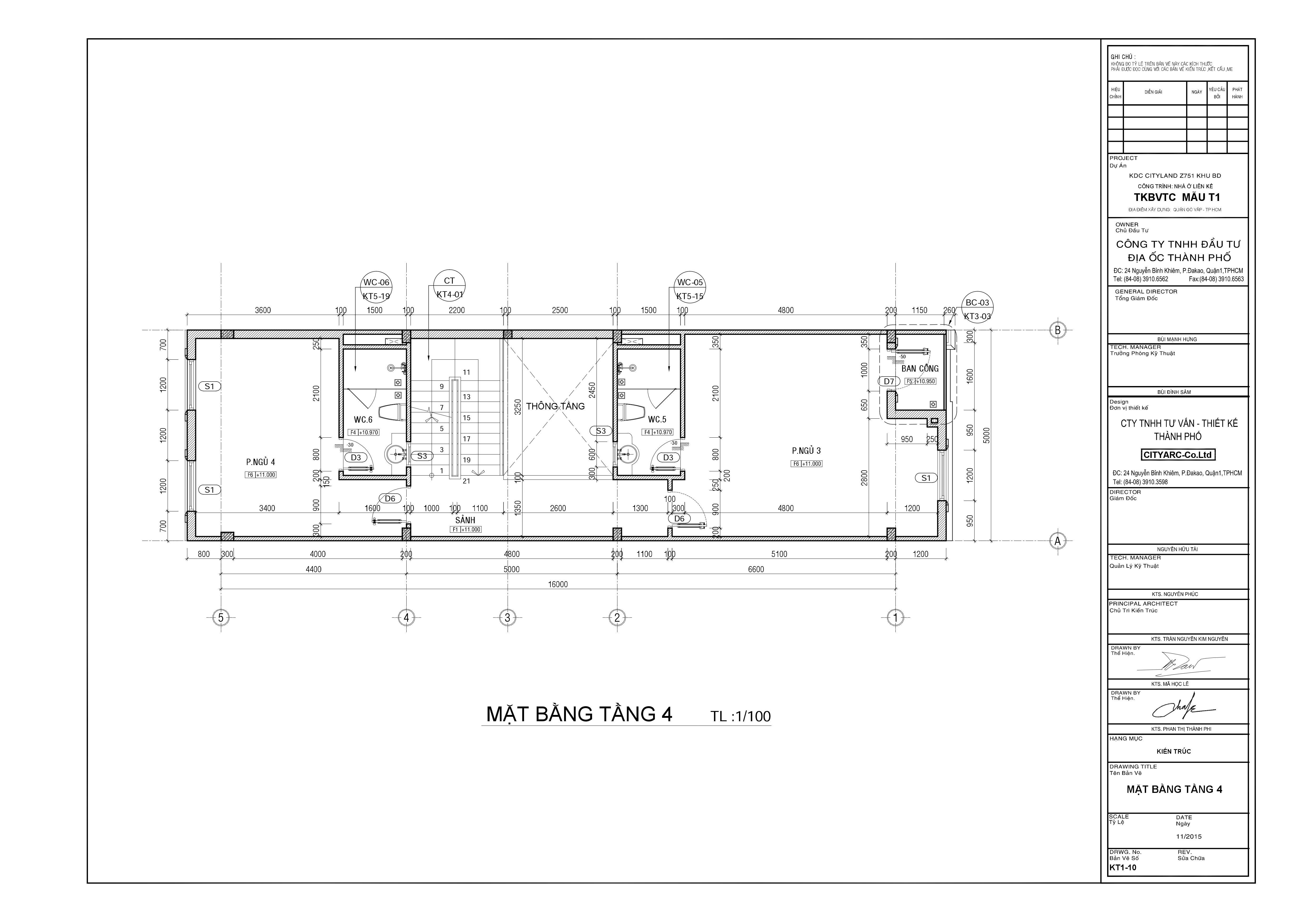 Nhà phố mặt tiền kinh doanh Cityland Park Hills Mẫu T1 - Tầng 4